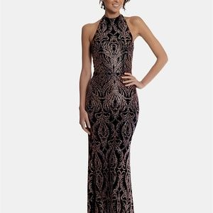 Betsy & Adam Halter Glitter Gown Black/Rose Size 2